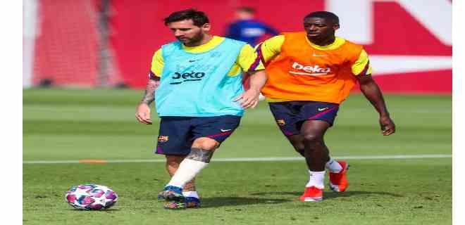 Messi entrena con normalidad después de la contusión sufrida contra el Nápoles