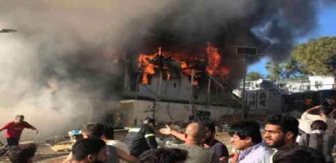 Incendio en el principal campo de migrantes de Grecia